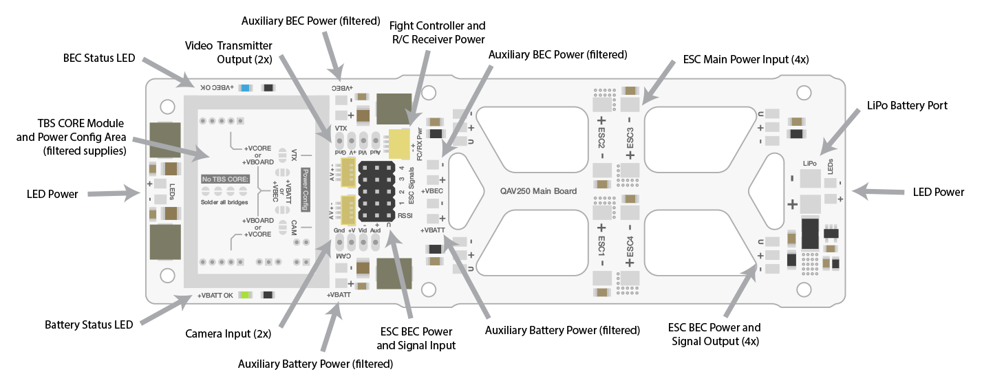 qav250 fury power distribution board rh getfpv com Circuit Board Schematics York Defrost Circuit Board Diagram